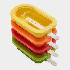 Made from BPA-free platinum silicone, this set of four stackable popsicle molds is practical and kind to the environment. Create all kinds of flavored frozen treats (including healthier options) on your own or take tips from the accompanying recipe booklet that includes ideas for lactose- and gluten-free options. Dishwasher-safe and ideal for summer months, they are available from the MoMA Store.