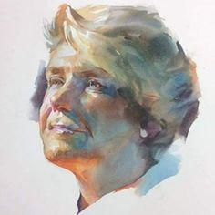이미지: 사람 1명 이상 Watercolor Face, Watercolor Artwork, Watercolor Portraits, Painting People, Figure Painting, Painting & Drawing, Guache, Portrait Art, Figurative Art