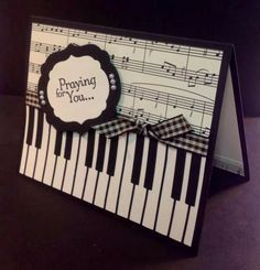 carterie, pergamano et tableaux - Page 3 Love the sheet music along with the piano key board, use scrapbooking with kids playing on piano. Pop Up Cards, Cute Cards, Diy Cards, Musical Cards, Tarjetas Diy, Get Well Cards, Handmade Birthday Cards, Masculine Cards, Sympathy Cards
