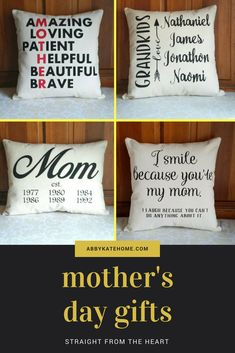 Personalized Mother's Day Gifts, Pillow for Mom, Grandma, Mother, Mom Established Pillow, Mother Anagram, I smile because you're my mom, Grandparent Gift Pillow