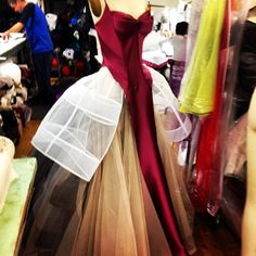 The making of a Zac Posen gown in process in the atelier.