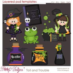 Toil & Trouble Witch's Brew Layered Element Templates,cu, Halloween clipart, scrap, scrapbooking, Digital, graphics