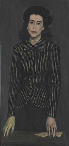 Portrait of Maria Rusen, 1943 Yiannis Moralis (Greek painter, 1916 - Charlotte Brontë, Street Art, Ecole Art, Art Database, Traditional Paintings, Portrait Art, New Art, Artwork, Image