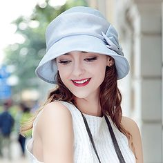 Bow silk sun hat for women summer wear UV protection hats