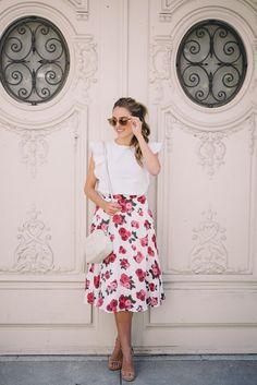 Floral Tea Length Skirt