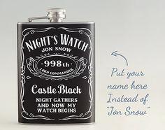 Personalisierte Spiel der Throne House-Night Watch Liquor Flachmann, Edelstahl-Kolben 6 oz/8 oz FKM012