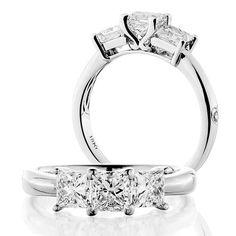 1.50 Carat 18kt White Gold Classic Princess Cut Three Stone Diamond Ring