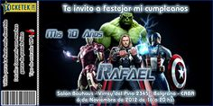 """""""Avengers"""" birthday invitation card. Tarjeta invitación para cumpleaños """"Los Vengadores"""" tipo ticket disponible en www.elsurdelcielo.com"""