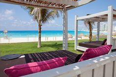 Cabana with beach view at the Hyatt Regency in Cancun.  Definitely a luxury property!  ASPEN CREEK TRAVEL - karen@aspencreektravel.com