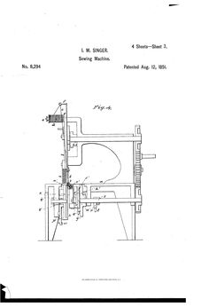 Isaac Singer - Improvement in sewing-machines Patent Patent Drawing, Technical Drawing, Sewing Machines, Singer, Drawings, Art, Art Background, Treadle Sewing Machines, Kunst