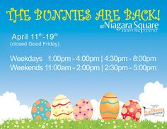 Here is a list of what is open during the Easter long weekend in Niagara Falls. #NiagaraFalls #Easter  http://www.cliftonhill.com/falls_blog/open-easter-weekend-niagara-falls/