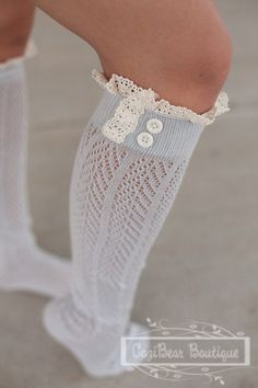 Women's Chevron Open Knit Boot Socks with Vintage Cream Lace in Light Grey