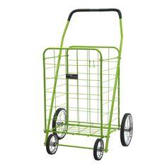 <li>Jumbo shopping cart</li> <li>Color: Green</li> <li>Chrome, spoke wheels with rubber tread</li>