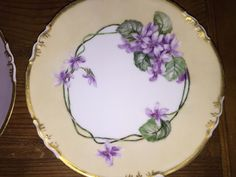 Set/4 A K  D Limoges France Hand Painted Artisan Floral Plate Pansy Lilac Violet in Pottery & Glass, Pottery & China, China & Dinnerware, Limoges | eBay