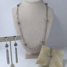 Silvertone Rhinestone Chain Set Sarah Coventy Demi by ravished #vogueteam #vintagejewelry #etsygifts