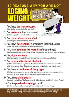 10 goods reasons why you are not losing weight ! - True