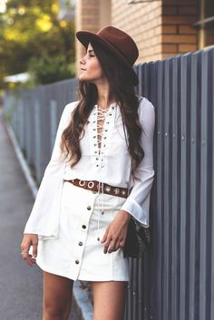 Top: the fashion fraction blogger 70s style lace up button up skirt fedora belt lace up
