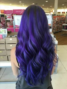 Indigo Purple Blue Hair Done With A Mix Of Pravana Vivids And - blue and purple hair color , , , Blue Purple Hair, Pastel Blue Hair, Ombre Hair Color, Purple Ombre, Purple Hair Dyes, Indigo Hair Color, Purple Balayage, Purple Style, Deep Purple