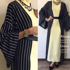 Affordable prices on new tops, dresses, outerwear and more. Abaya Fashion, Modest Fashion, Fashion Dresses, Hijab Casual, Hijab Chic, Striped Cardigan, Modele Hijab, Mode Abaya, Muslim Women Fashion