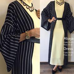 PINNED BY @MUSKAZJAHAN - Striped Cardigan, Maxi Cardigan, Cardigan Pattern, Abaya Fashion, Modest Fashion, Fashion Dresses, Modest Dresses, Stylish Dresses, Mode Abaya