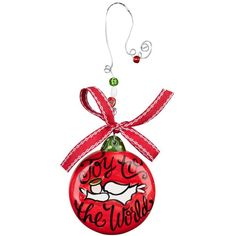 Glory Haus Joy To The World Ceramic Ball Christmas Ornament ($18) ❤ liked on Polyvore featuring home, home decor, holiday decorations, red, red christmas tree ornaments, red christmas ornaments, xmas tree ornaments, beaded ornaments and ceramic christmas ornaments