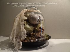 Glass Cloche with Skulls & Moss by MYSTICALLYENCHANTING on Etsy, $23.50