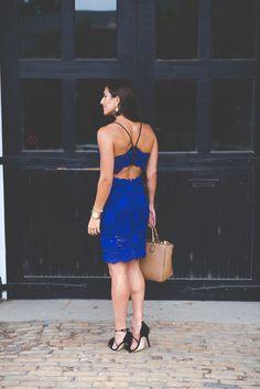 cobalt lace midi dress, summer cocktail dress, wedding guest dress, fringe heels, summer lace dress // @asoutherndrawl