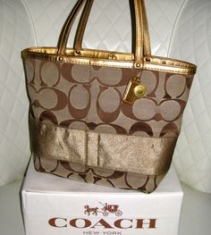 I'm auctioning 'COACH Khaki Signature Metallic Gold Striped Reversible Tote' on #tophatter