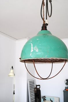 In the home office home office decor and style turquoise industrial lamp Office design layout Modern Industrial, Industrial Lighting, Vintage Industrial, Industrial Design, Industrial Industry, Industrial Office, Industrial Interiors, Vintage Lighting, Kitchen Lighting
