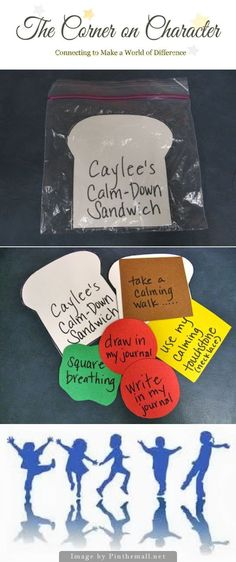 Strategy Sandwiches - Today I'm excited about sandwiches! Not real sandwiches, I'm excited about the strategy sandwich. I made a Calm Down sandwich for a student, who comes at lunch to practice calm-down strategies. The ingredients represent the things th