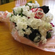 Great gift idea for a   Bridal Shower, Bachelorette Party or Valentine's Day.  This Bouquet has 4 Lace Thongs with fake flowers.