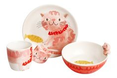 Set of 3 Pieces for Children Cat Red Brush