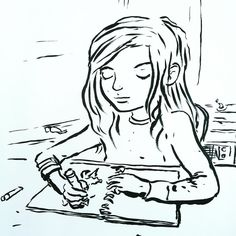 By Jarrett J. Krosoczka: Family draw time with Nirvana Unplugged on the record player.  #family #DadLife #parentlife #kids #drawing #jjkdailysketch #dailysketch #weekend #writinglife #graphicnovels #lunchlady