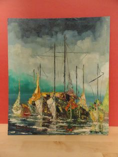 Vintage Oil Painting of Sailboats