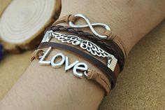 Brown man's leather bracelet Love & Angel wings by DavidBracelets, $6.50