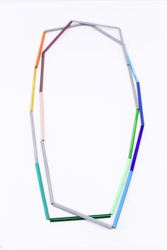 Lucy Sarneel, Untitled necklace, 2013, acid etched zinc, glass, plastic, bamboo, paint. Gallery Funaki