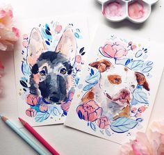 """2,667 Likes, 22 Comments - ✨Leigh Ellexson✨ (@leighellexson) on Instagram: """"217/365 A couple doggo portraits I finished up today ✨ #illustration #watercolor"""""""