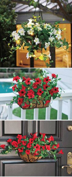 Hanging Railing Flower Basket, Battery Powered Flowers, Lighted Red Petunia | Solutions