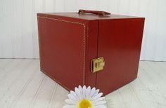 Vintage Burgundy Leatherette Wooden SuitCase  by DivineOrders, $28.00
