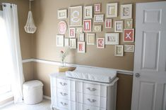 DIY alphabet frames: 1) collect antique and/or modern picture frames, 2) spray-paint said frames, 3) select fabrics for the backgrounds that match the color palette of your nursery, 4)  cut letters out of white cardstock, 5) put the letters and fabric in the frames, and create an adorable nursery for your baby! #decor