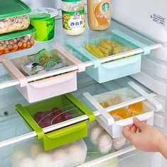 Add major organization to your fridge with these colorful plastic cubes that easily slide in and out of a shelf for additional storage for your cold food and drink items. Make your refrigerator the most organized space in your kitchen using these fun and super functional storage cubes.