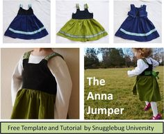 Free Tutorial and pattern for the Anna Jumper, a little girl's dress inspired by the movie Frozen.