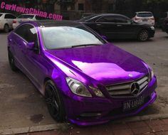 A very happy Mercedes-Benz E-Class Coupe, Spotted in China in the Dongba area in faraway east Beijing. The good Merc' is wrapped in an eye murdering shiny purple wrap, and further sexed up with a chromed grille, darkened windows, extra shiny chrome around the side windows, a black roof, and racy tires with sporty five spoke AMG alloys. #Mercedes #Cars #Rides #Auto #iAUTOHAUS