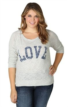 Deb Shops plus size over-sized tee with love screen  $17.17