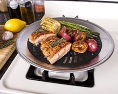 Kitchen + Home Stove Top Smokeless Grill Indoor BBQ, Stainless Steel with Double Coated Non Stick Surface - Indoor grilling is a popular way to prepare food without the mess or calories which comes from frying and baking in heavy sauces. Stovetop Grill Pan, Stove Top Grill, Grill Gas, Gas Bbq, Gas Stove, Indoor Grill, Clean Grill, Grilling Gifts, Bbq Gifts