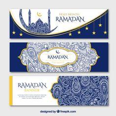 Blue ornamental ramadan banners with golden details Premium Vector Tarjetas Ramadan, Ramadan Cards, Ramadan Images, Ramadan Gifts, Eid Mubarak Gift, Eid Mubarak Banner, Eid Mubarak Vector, Eid Mubarak Greetings, Bricolage