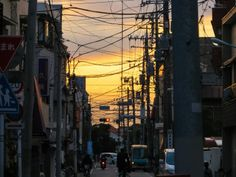 Utility pole and sunset
