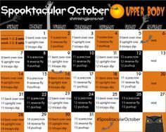 Spooktacluar October Upper Body {a monthly workout calendar} Cave Man, Pilates, Month Workout Challenge, Monthly Challenge, Workout Calendar, Calendar Calendar, October Calendar, October 2014, Weight Loss Before