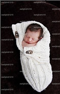 Photo prop White  Knit  100% cotton Baby Button- Up Cocoon Pod Sac - Ready To ship - button maybe different. $40.00, via Etsy.