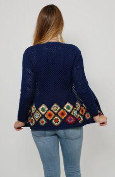 Vintage 70s GRANNY SQUARE Sweater Blue Knit por LotusvintageNY